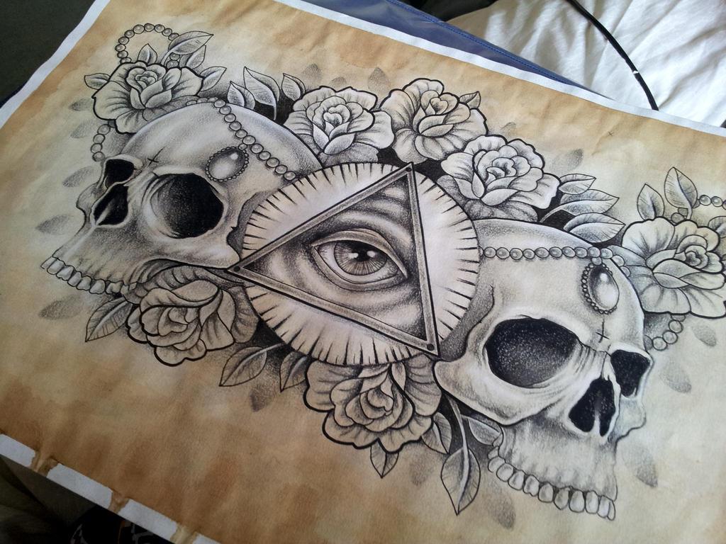 Illuminati And Skull Chest Piece Tattoo Design By