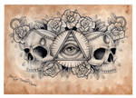 Illuminati and Skull chest tattoo design (scanned)