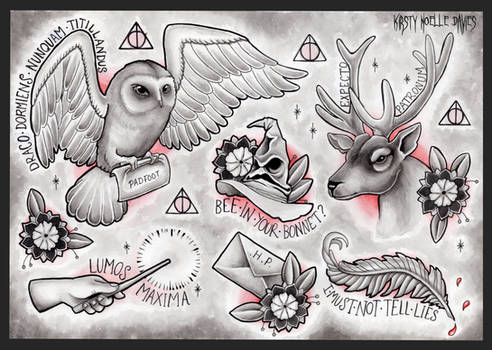 Harry Potter themed tattoo flash page
