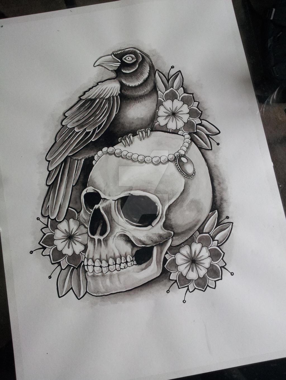 skull and crow tattoo design in progress by kirstynoelledavies on deviantart. Black Bedroom Furniture Sets. Home Design Ideas