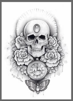 Skull, watch and moth thigh tattoo design