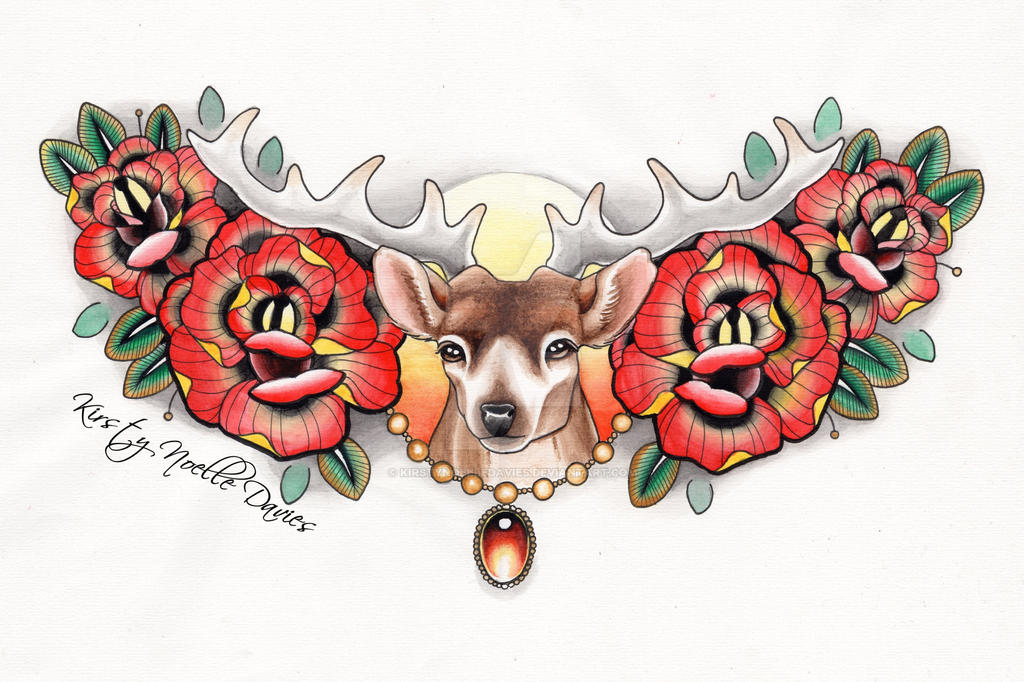 Stag Chest Tattoo Piece Re-done by kirstynoelledavies