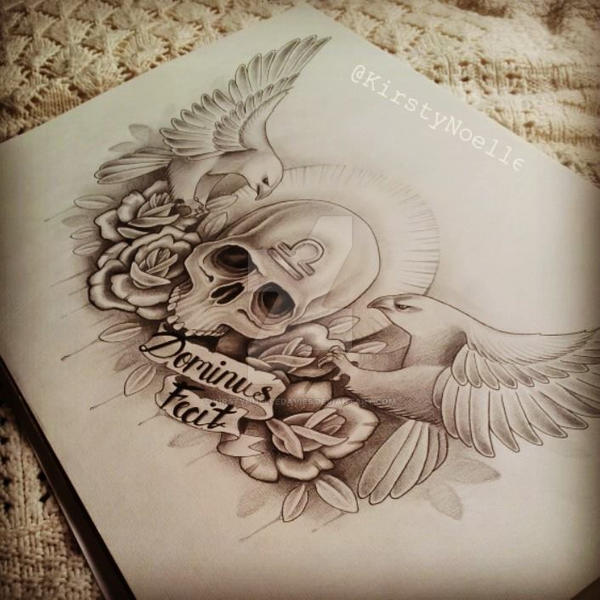 Skull Eagle And Rose Chest Tattoo Design By Kirstynoelledavies On