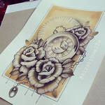 Rose and Stopwatch Tattoo Design (for sale) by kirstynoelledavies