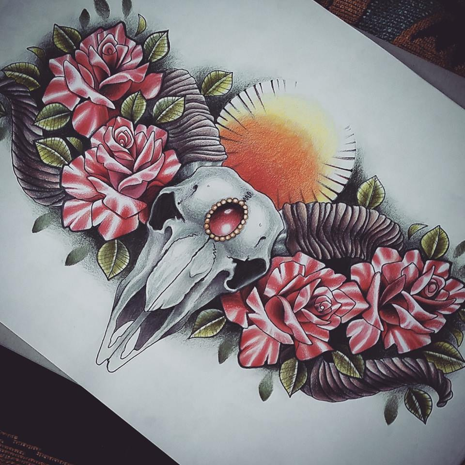 ram skull and roses chest piece tattoo design by kirstynoelledavies on deviantart. Black Bedroom Furniture Sets. Home Design Ideas