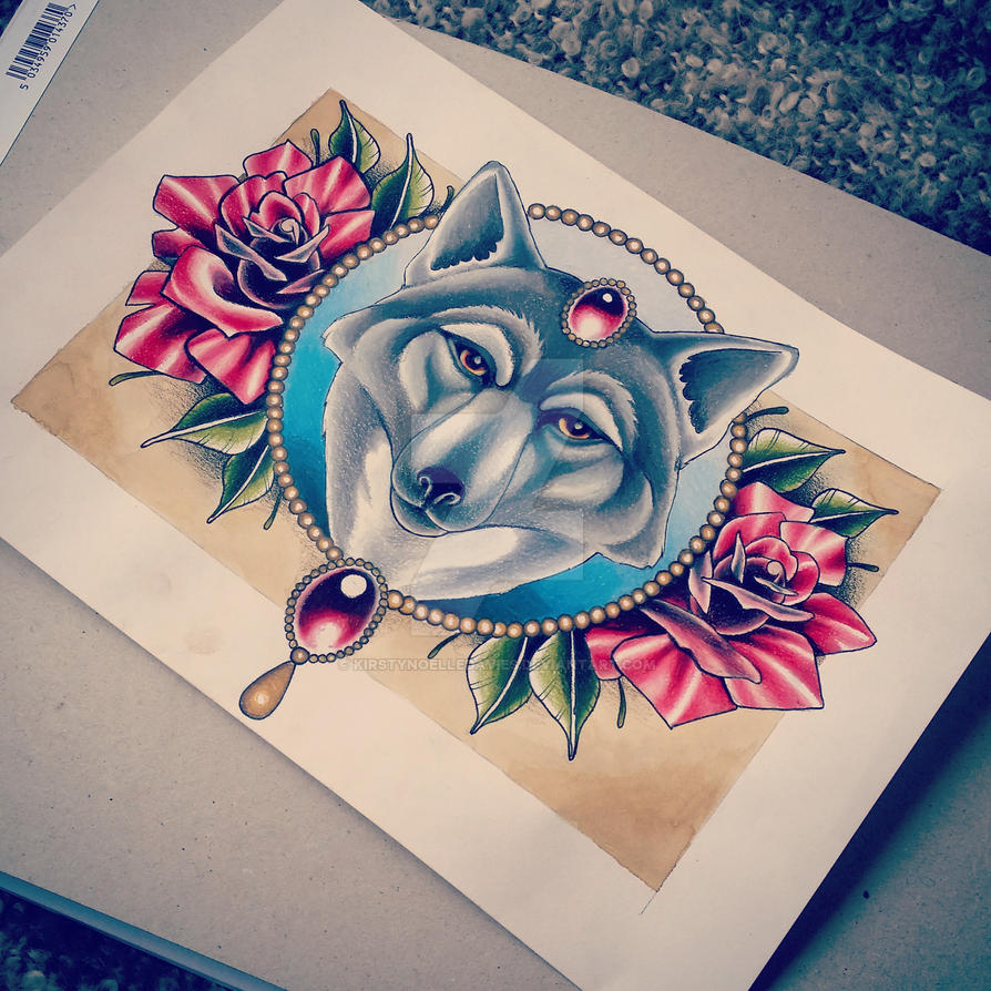 Wolf and Roses Tattoo Design by kirstynoelledavies