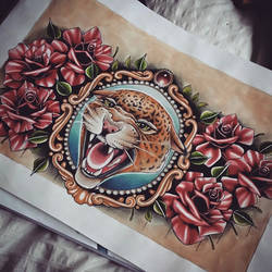 Leopard and Roses Chest Tattoo design