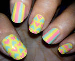 Pastel Stripes and Hearts Nails