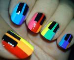 Rainbow Piano Nails