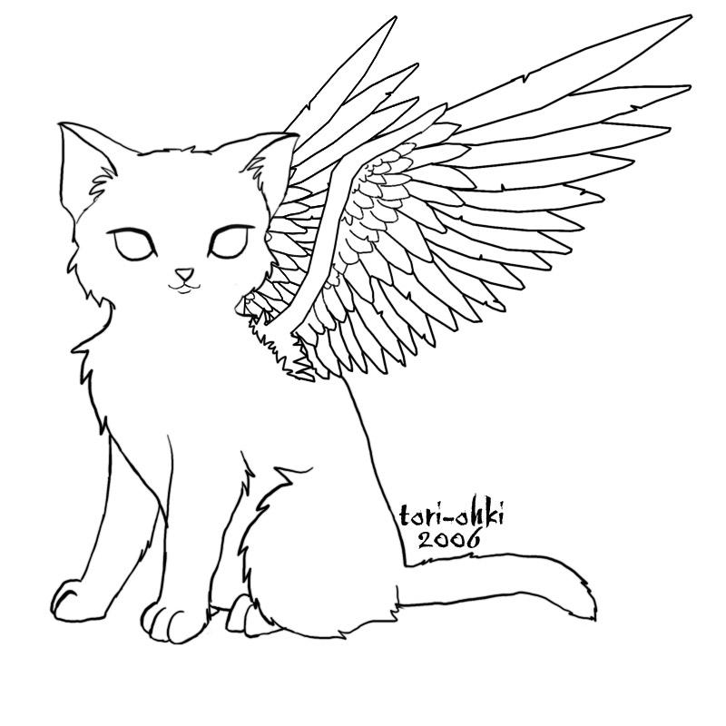 For to color angel cat by tori ohki on deviantart for Angel wings coloring pages