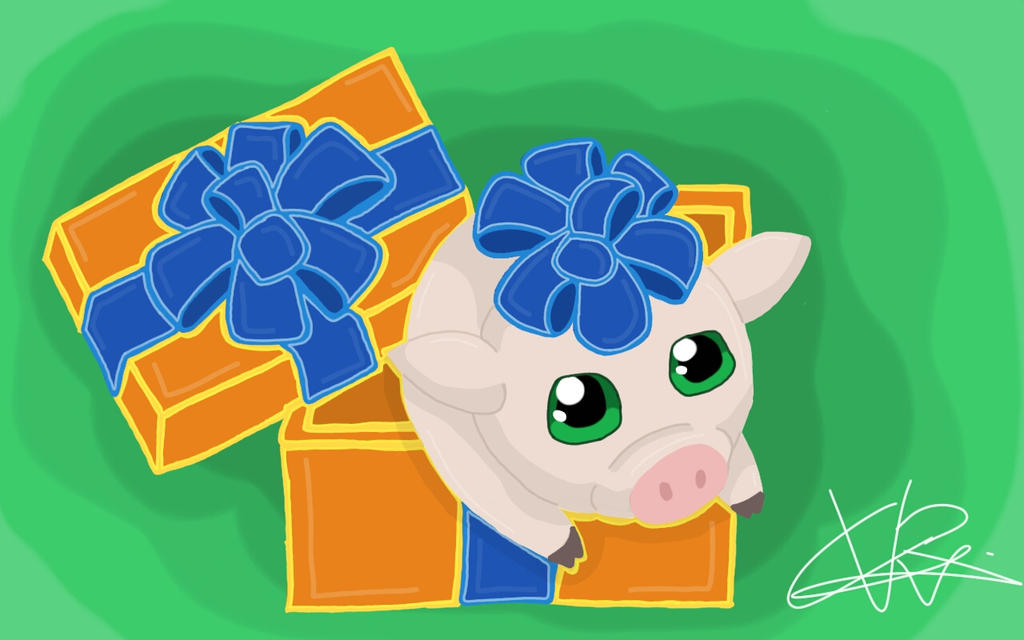 a pop-up present  pig by ConceivedRaptor