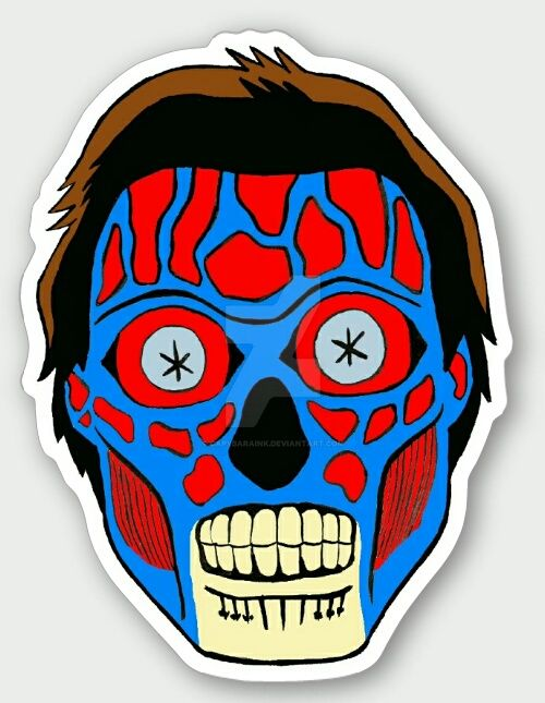 They live alien sticker design by capybaraink