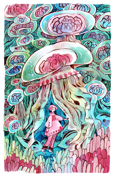 Sea uribo and jellyfish by koyamori