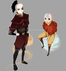 Avatar: Aang and Zuko by Mikutashi