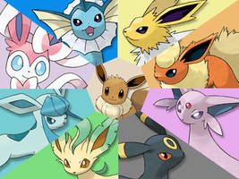 Wallpaper #2: Eeveelutions by Jonouchi-PKMN