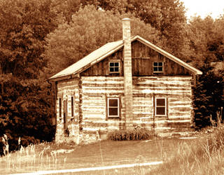 Log House (Sepia tone) by laurelrusswurm