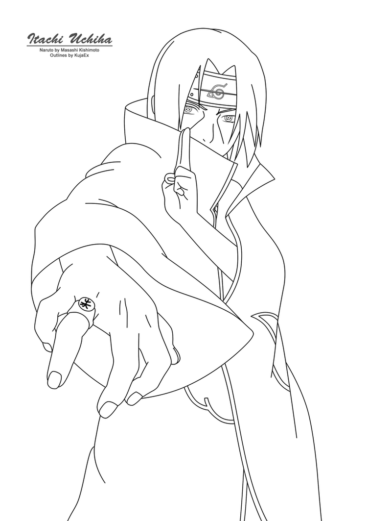 Itachi Uchiha Outlines By Kujaex On Deviantart Itachi Coloring Pages