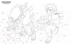 Sasuke and Naruto Outlines by KujaEx