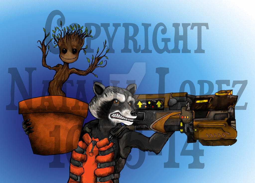 Rocket Racooon and Groot by DemonicNeko