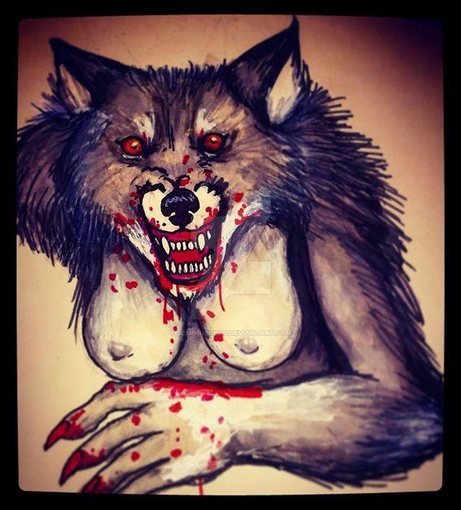 Drawlloween Day 5 Werewolf by DemonicNeko