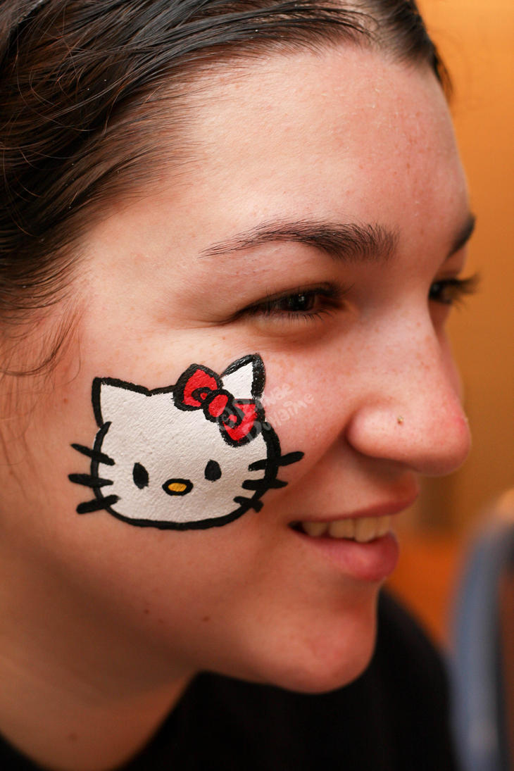 hello kitty cheek by renduh facepaint on deviantart. Black Bedroom Furniture Sets. Home Design Ideas