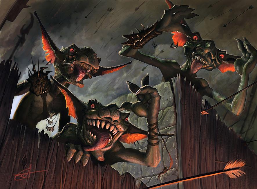 Taunting Goblins by Shockowaffel