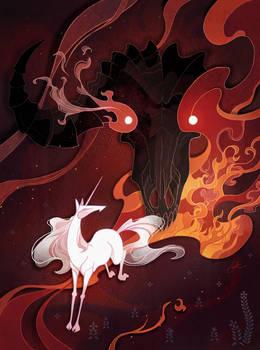 Unicorn and bull editorial illustration