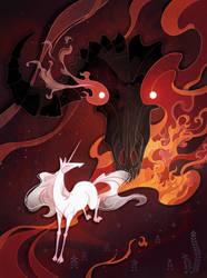 Unicorn and bull editorial illustration by Shockowaffel