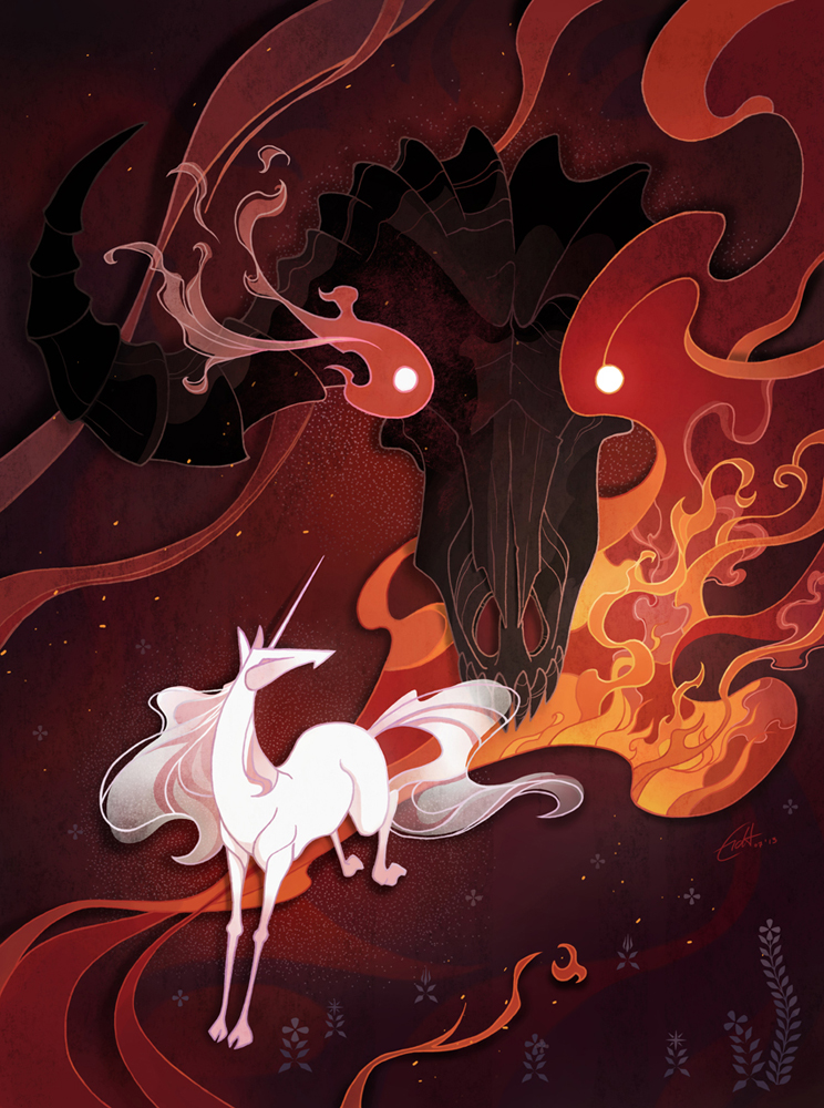 Unicorn and bull editorial illustration by Shockowaffel