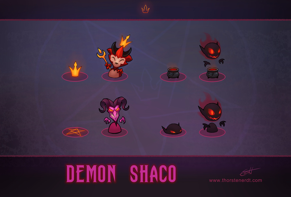 LoL skin concept: Demon Shaco: Box concepts by Shockowaffel