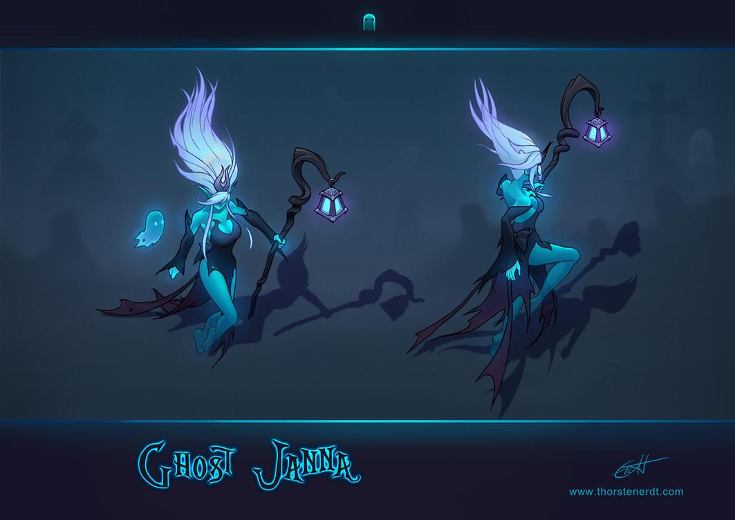 LoL skin concept: Ghost Janna by Shockowaffel