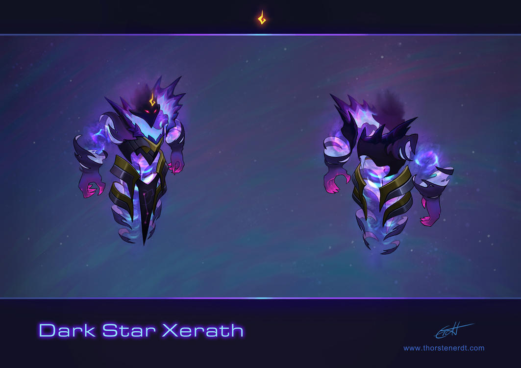 LoL skin concept: Dark Star Xerath by Shockowaffel