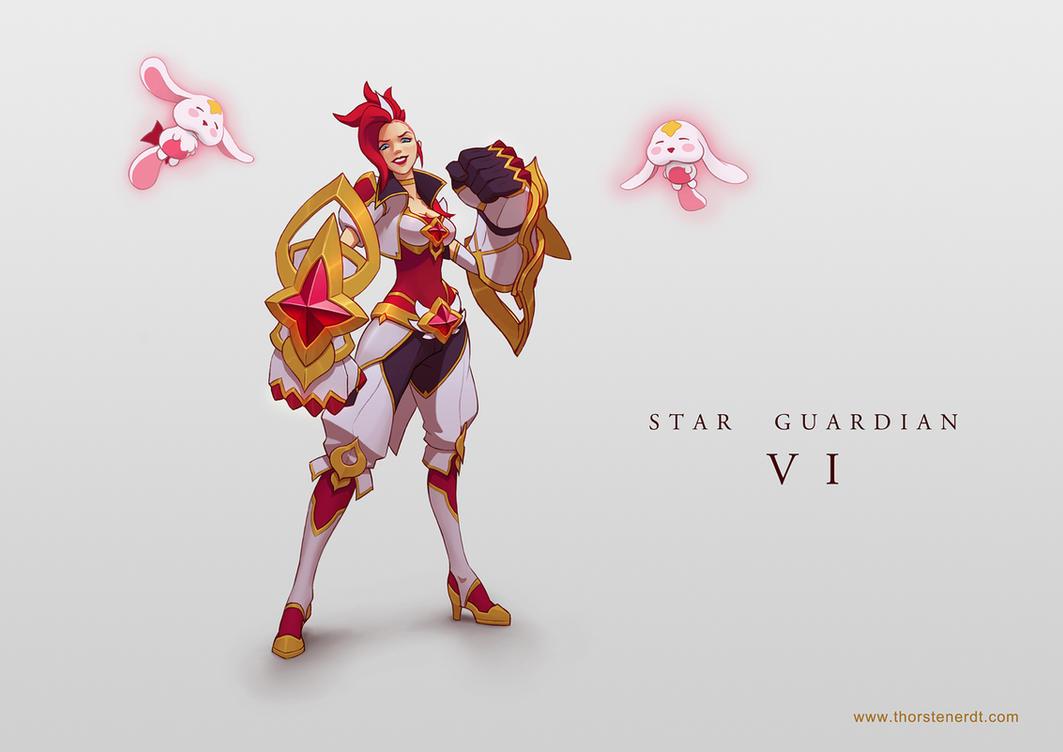 LoL skin concept: Star Guardian Vi by Shockowaffel