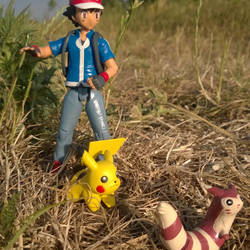 Ash and Pikachu out in the wild