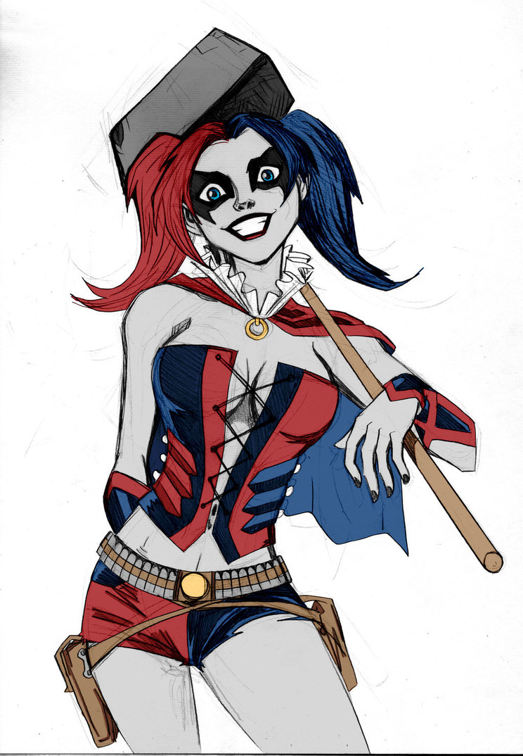 Harley Quinn Sketch Colored by Kenkira by LucianoVecchio