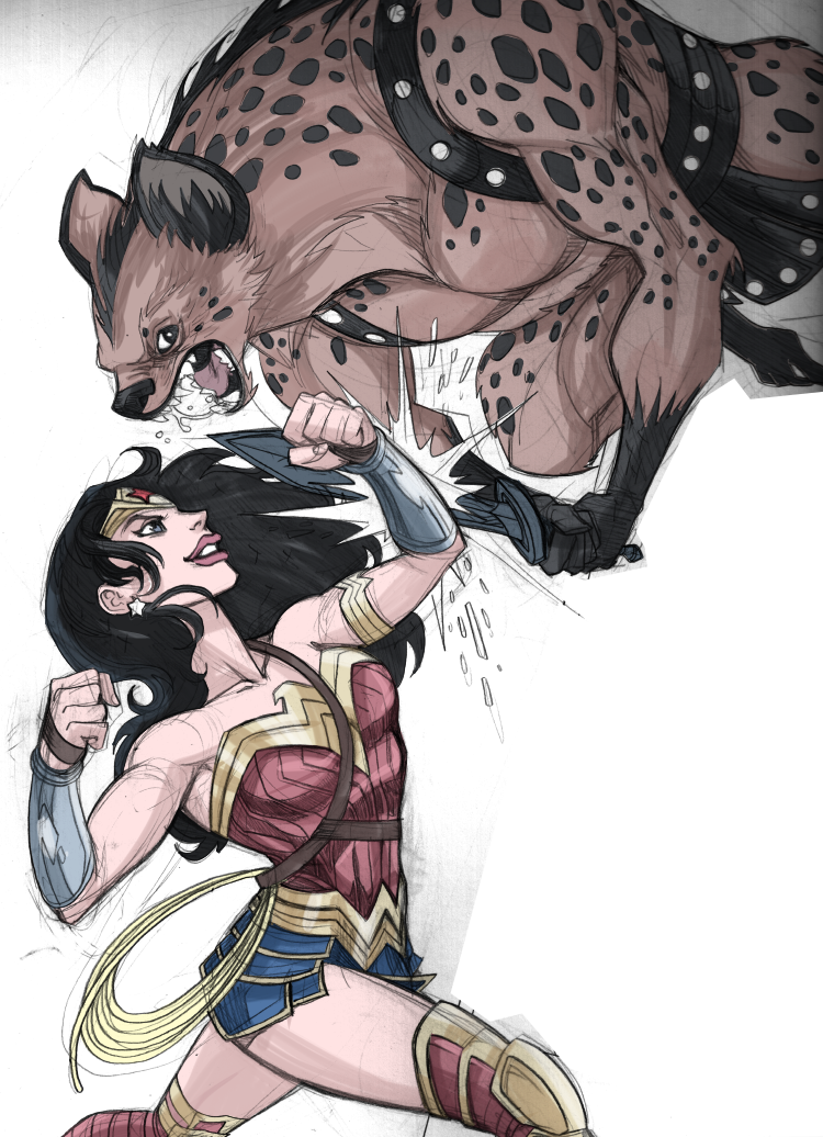 Wonder Woman vs Hyena Warrior by LucianoVecchio