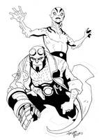 Hellboy and Abe Sapien sketch commission by LucianoVecchio