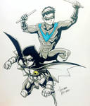 Nightwing and Robin sketch commission