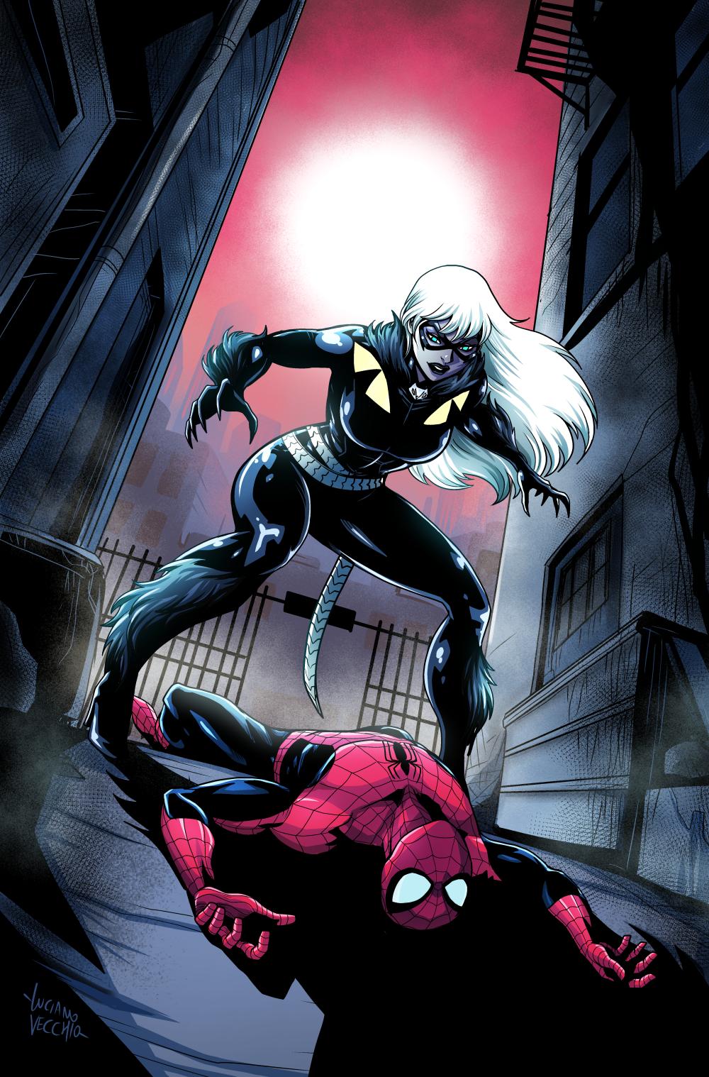 black cat spiderman - 736×1117