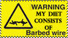 Warning....barbed wire