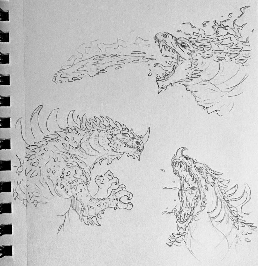 Random sketches 128 kaiju anime idea pt ii by