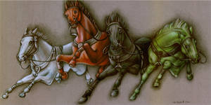 THE 4 HORSES OF THE APOCALYPSE by outofmypen