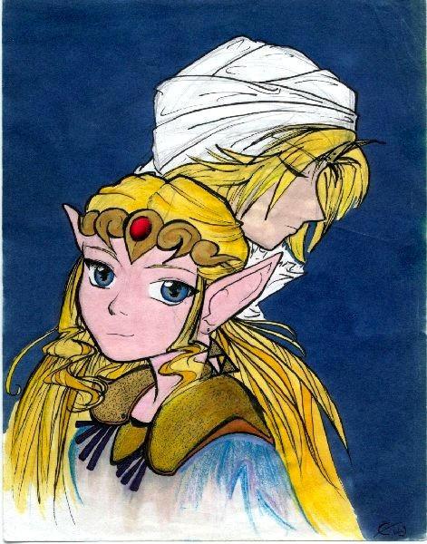 Sheik and Zelda by crimsontriforce