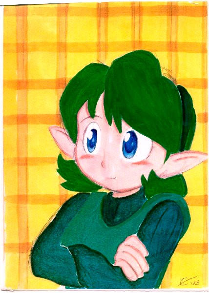 Saria + Yellow Background by crimsontriforce