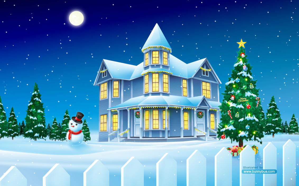 Christmas House Widescreen By Bunnybua