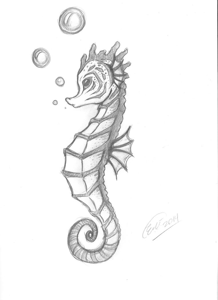 Seahorse drawing by emmonsta on deviantart for How to draw a simple seahorse