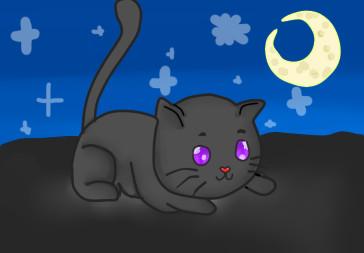cat at midnight by claraosborn
