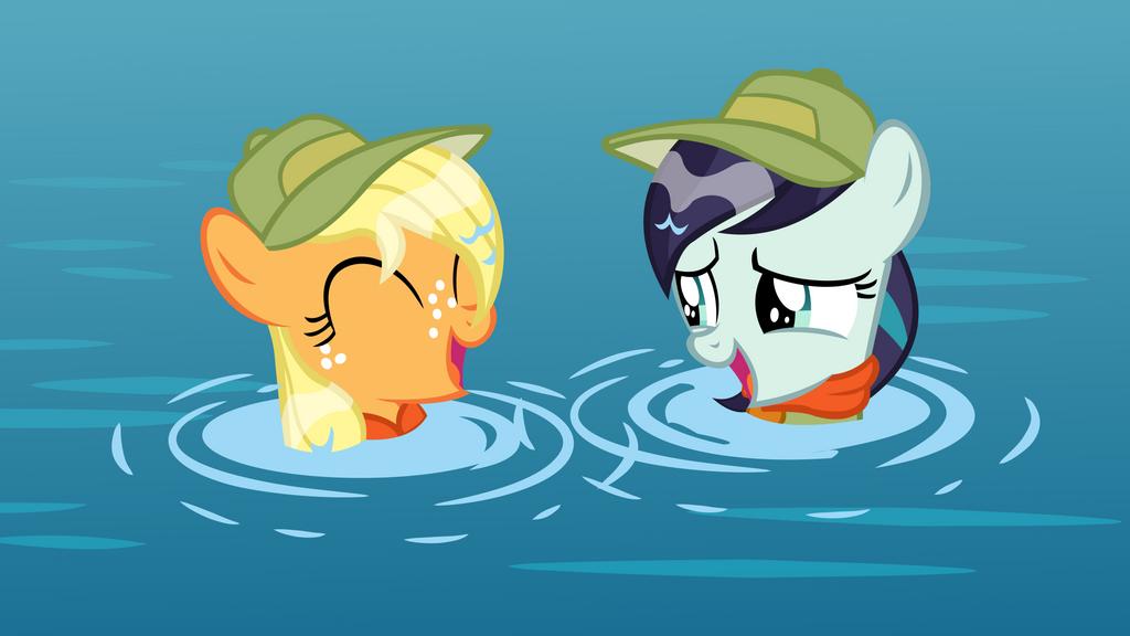Applejack and Coloratura Vector - Swimming