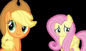 Applejack and Flutteshy Vector - Blushing