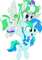 Cyan and Emerald Vector - Let's Fly Together by CyanLightning
